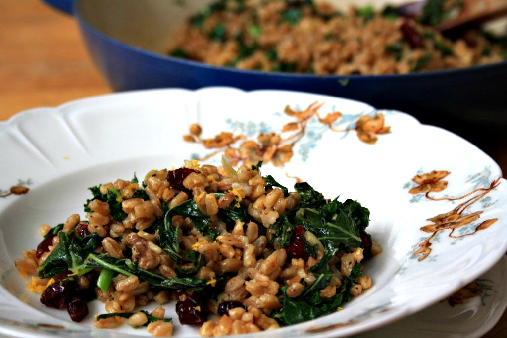 Farro pilaf with kale and cranberries