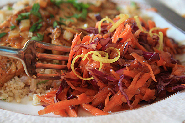 Carrot Cabbage Slaw with orange dressing