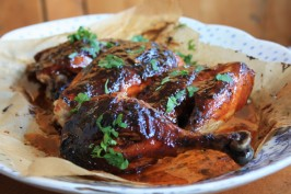 oven barbecued chicken with molasses slather