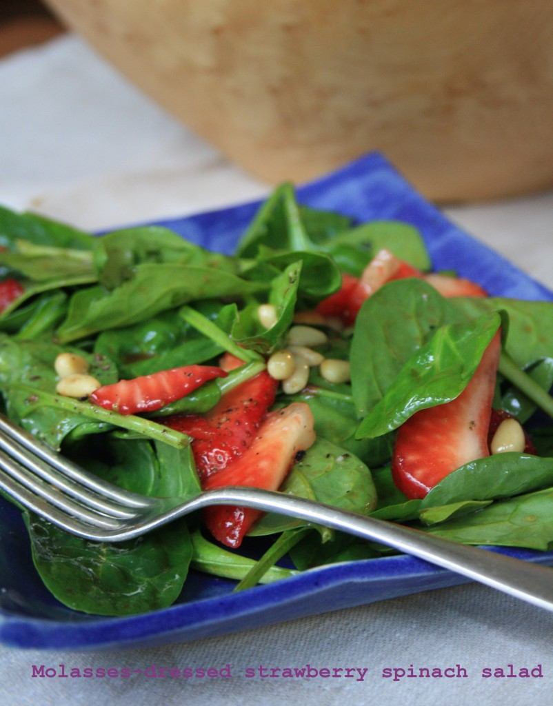 Spinach and strawberry salad with molasses vinaigrette