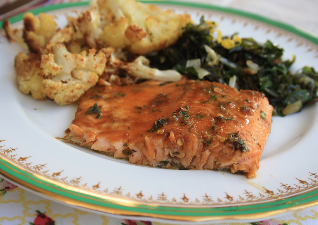 molasses-glazed trout with orange and thyme