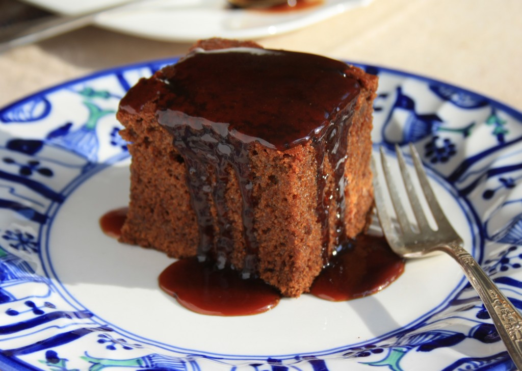 Gingerbread cake is moist and fluffy with just the right amount of spice. Dress it up with coffee toffee sauce.