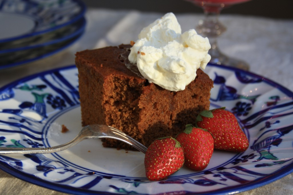Soaked ginger cake with a buttery brown sugar sauce