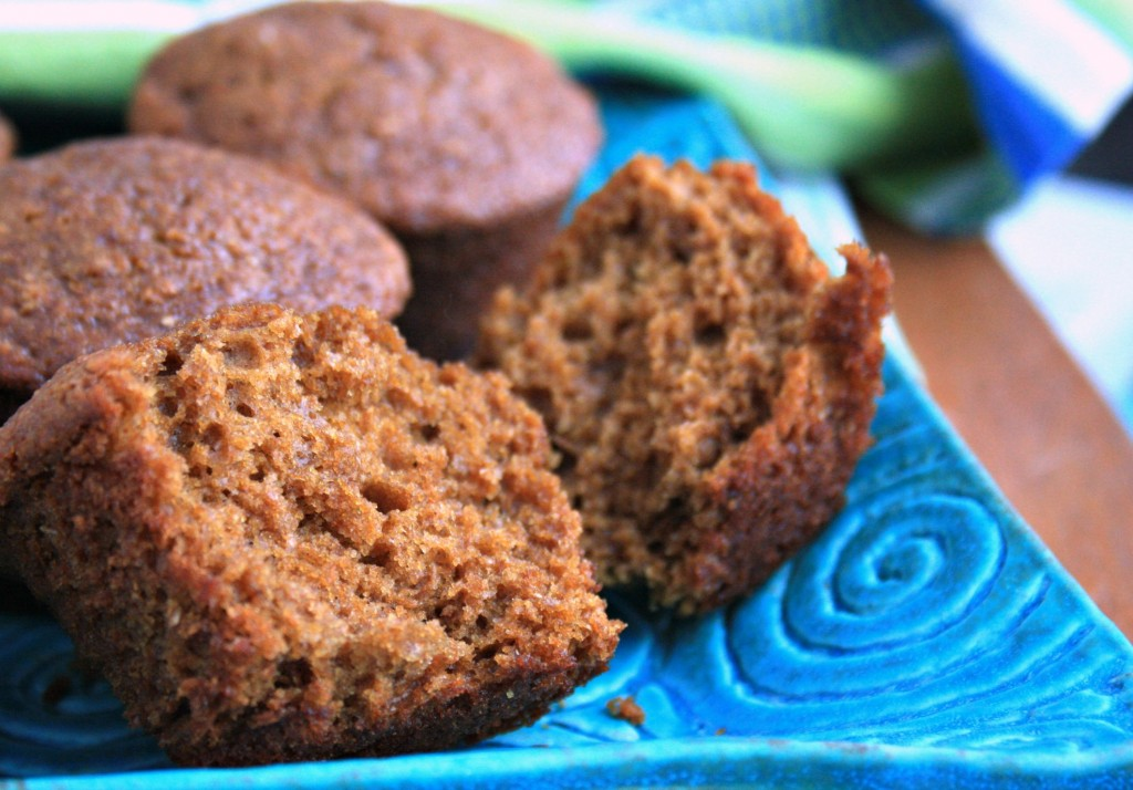 light and healthy ginger molasses muffins. A healthy bran muffin enhanced with fresh ginger