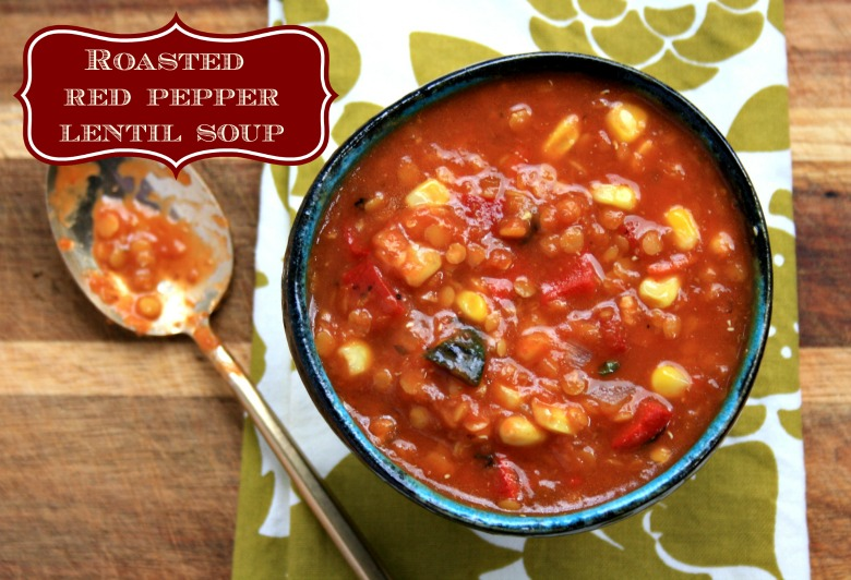 Roasted red pepper lentil soup ready in 30 minutes