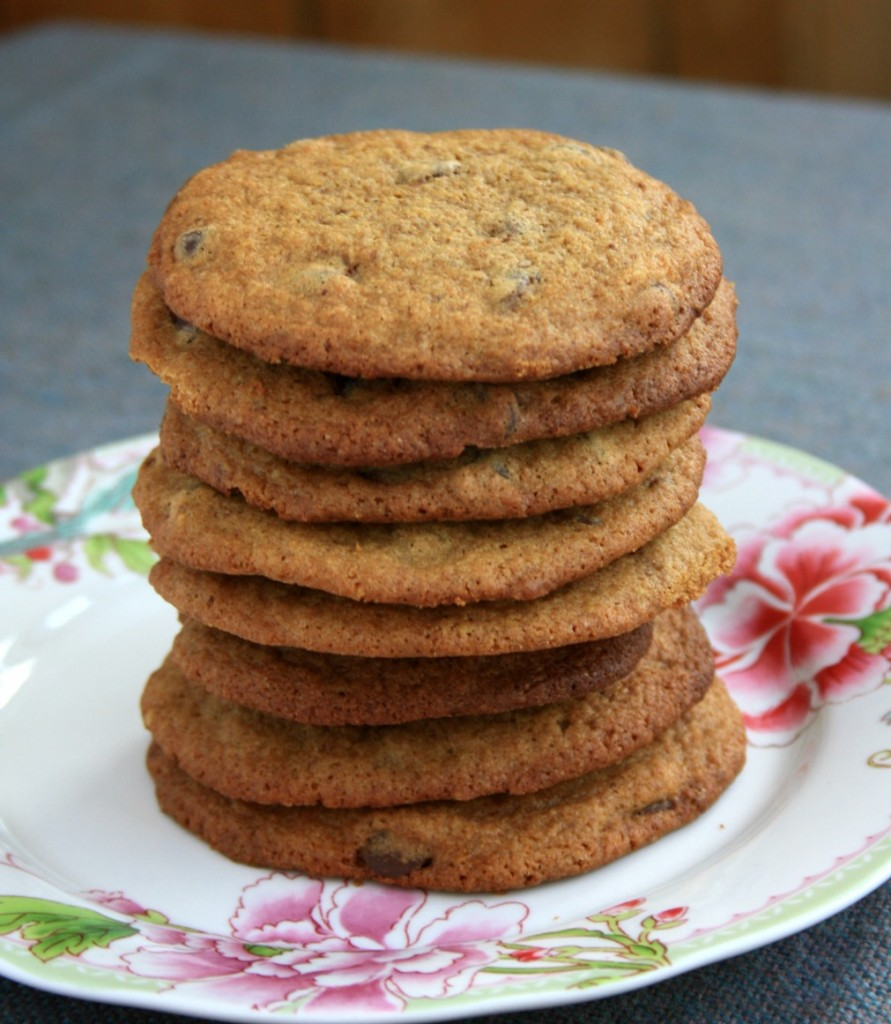 Chewy whole wheat chocolate chip cookies with a hint of molasses.