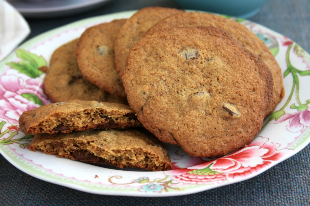 Chewy, buttery whole wheat chocolate chip cookieswith a hint of molasses and one third less sugar