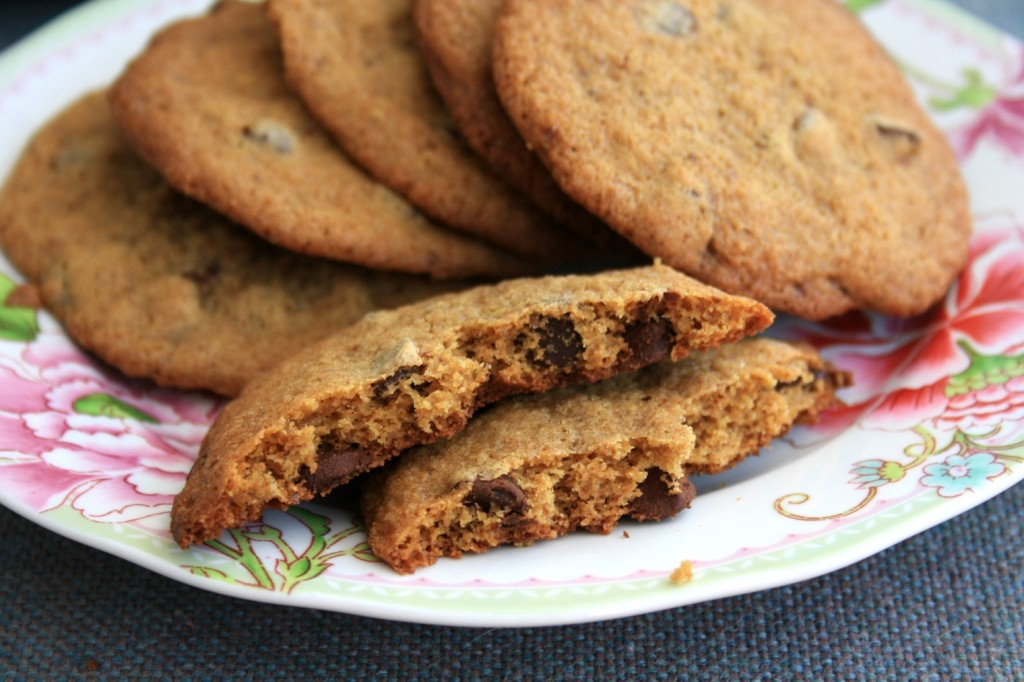Chewy, buttery whole wheat chocolate chip cookies with all the flavour and one third less sugar