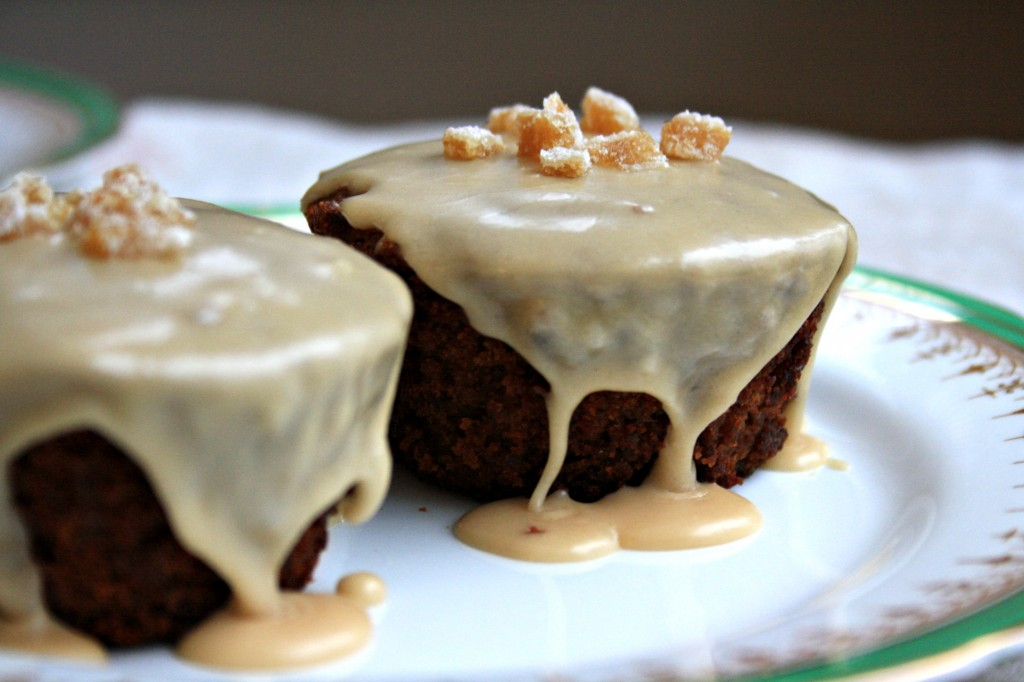 Guinness gingerbread cupcakes with candied ginger and Baily's Irish Cream glaze
