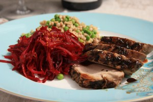 Molasses and red currant jelly glazed pork tenderloin with garlic and herbs