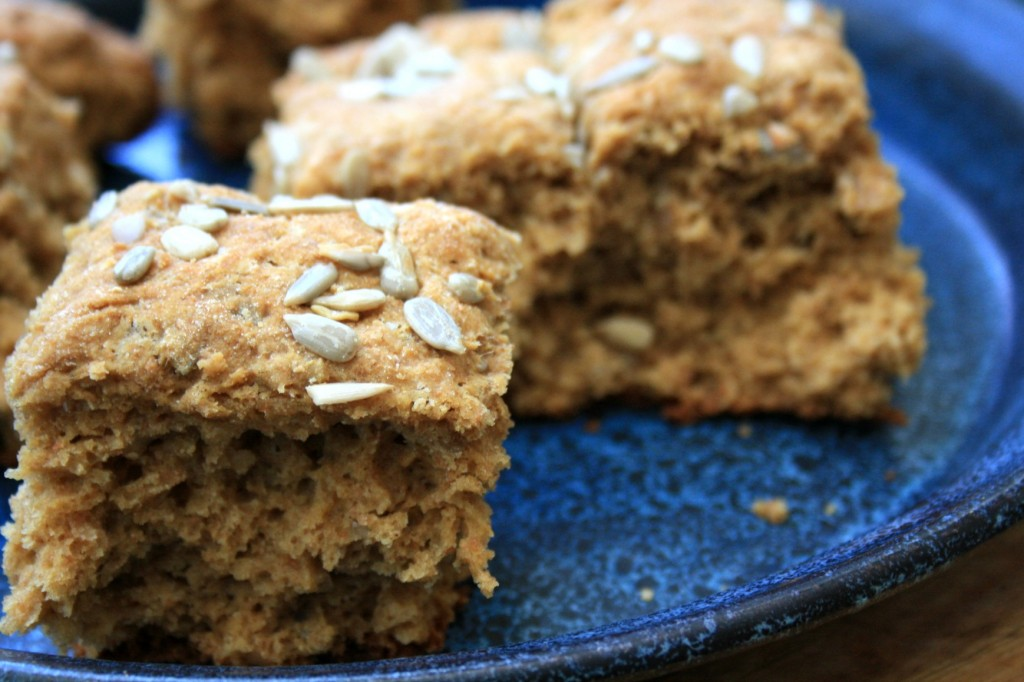 Sweet molasses scones recipe sprinkled with crunchy sunflower seeds.
