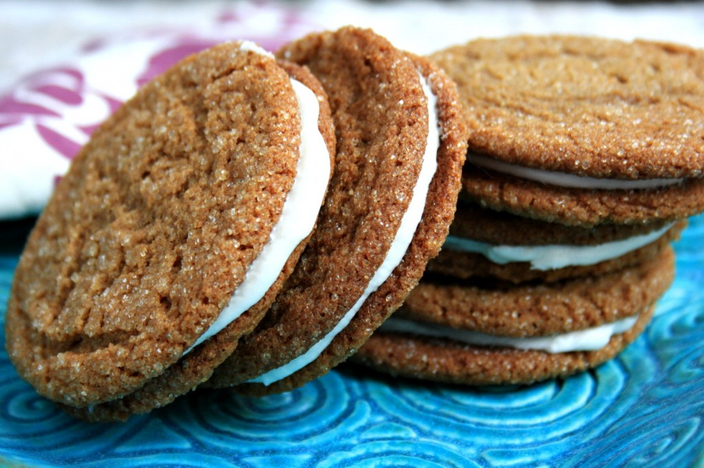 Molasses crinkle cookies are chewy and perfect for sandwiching with marshmallow buttercream.