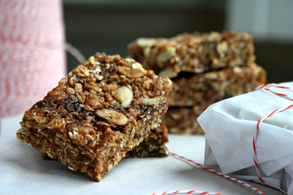 Crispy almond butter granola bars are no-bake and gluten free