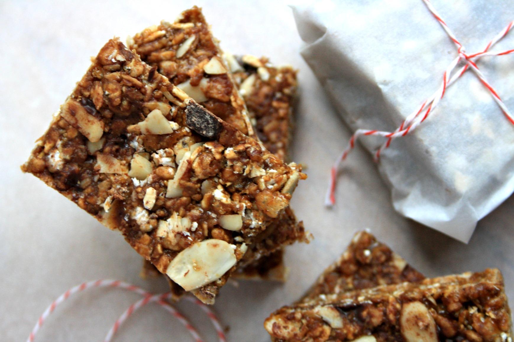 Gluten free crispy almond butter granola bars