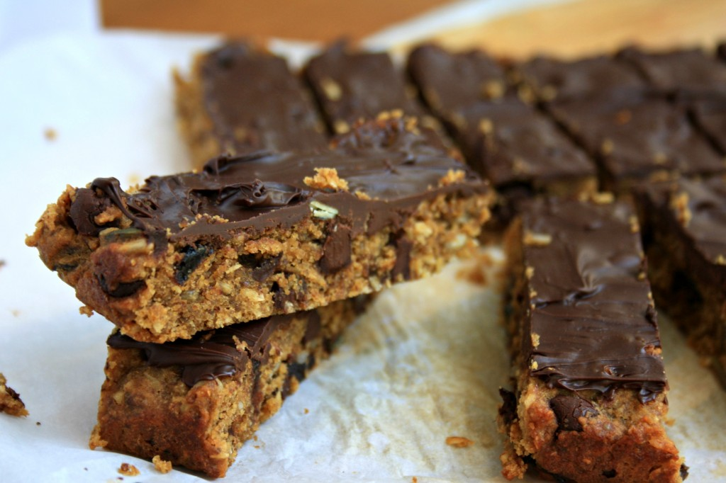 These dark chocolate almond bars with flax and dried fruit are gluten free and full of healthy stuff