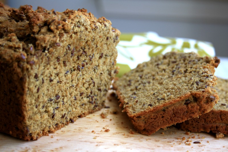 Almond flaxseed bread with wheat germ is an easy and nutritious quick bread