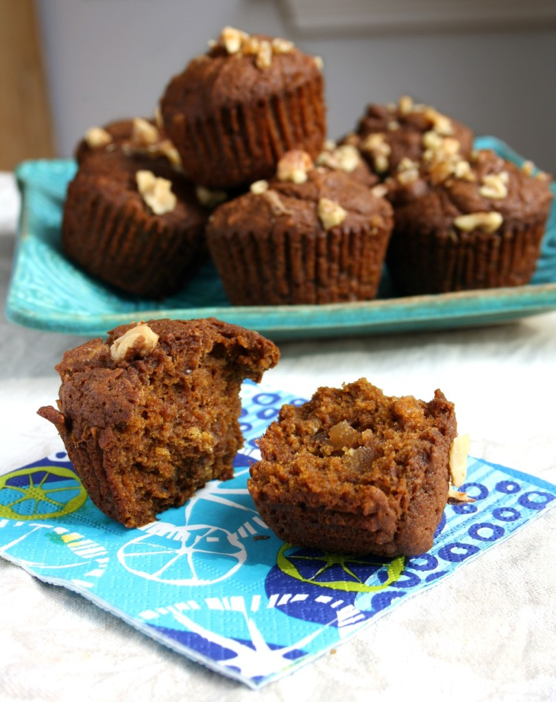 gluten free pumpkin spice muffins with molasses and candied ginger