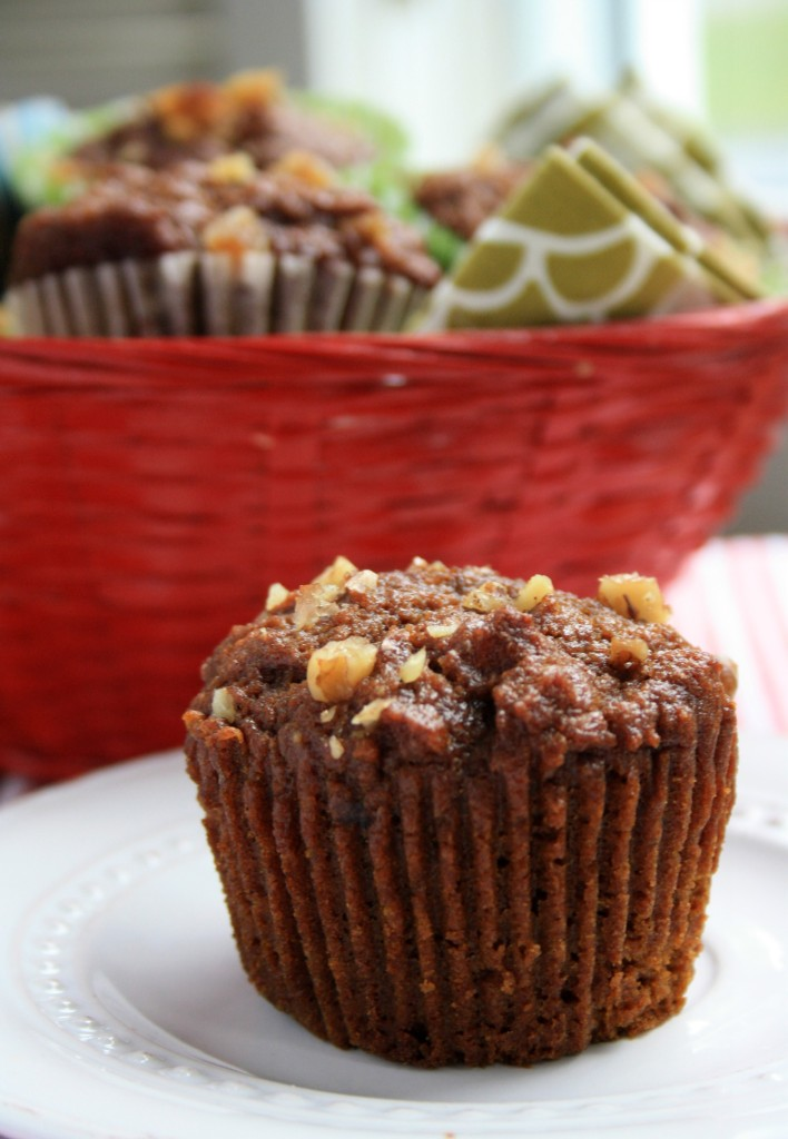 Pumpkin spice muffins with walnuts and molasses