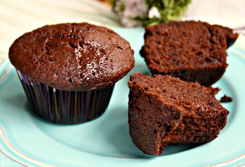 double chocolate rye muffins