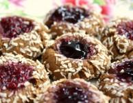 gingerbread coconut thumbprint cookies
