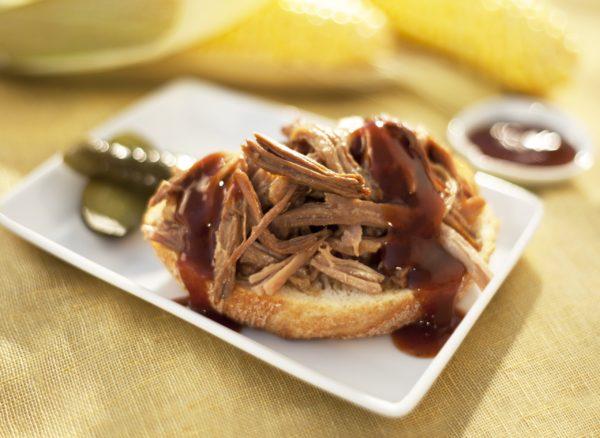 Porc effiloché dans une assiette blanche